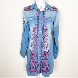Johnny was embroidered jean tunic dress